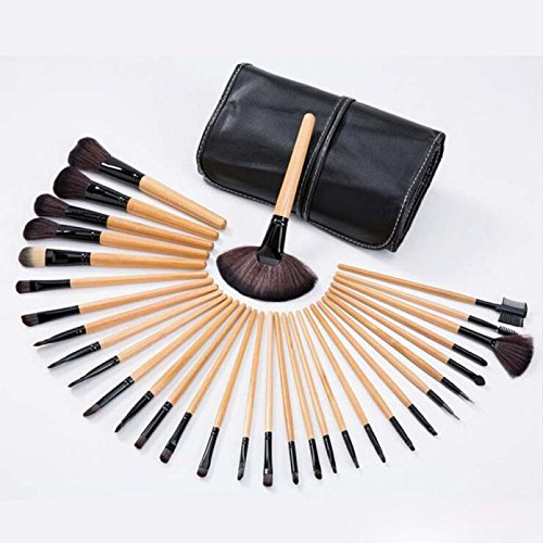 32pcs professionelle weiche kosmetische Augenbrauen Schatten Make up Pinsel Set Kit + Pouch Bag Honestyi 32pc Make-up Pinsel (32pcs Make-up Pinsel Mit Tasche)