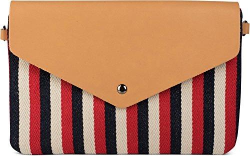 styleBREAKER Envelope Clutch im maritimen Streifen Look mit Fischgrät Muster, Umhängetasche, Tasche, Damen 02012153, Farbe:Blau-Beige Rot-Blau-Beige