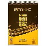 Bloc de papier 100 feuilles A3 Fabriano Schizzi 90g/m² entête à spirale