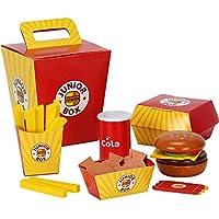 TODAYTOP Children wooden Play Food Toy Wooden Hamburger & Sandwich Set - Childrens Pretend Play Food Kitchen Toy Burger Play Food Set