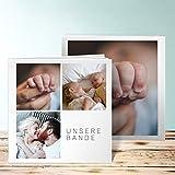 Fotobuch für Zwillinge, Fotobuch Trio II 28 Seiten, 14 Blatt, Hardcover 215x215 mm personalisierbar, Weiß