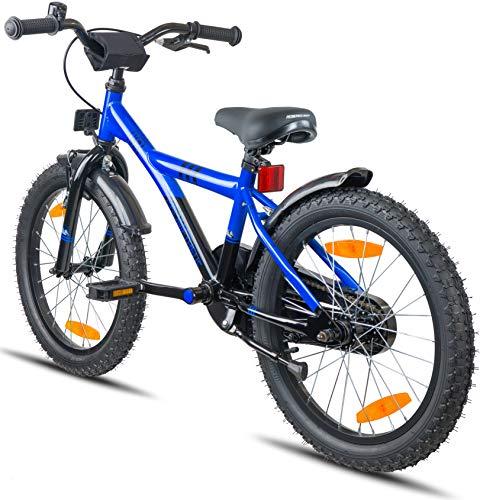 Prometheus Bicicletta per bambini e bambine dai 6 anni nei colori blu e nero da 18 pollici con freno a V in alluminio e contropedale – BMX da 18″ modello 2019 - 6