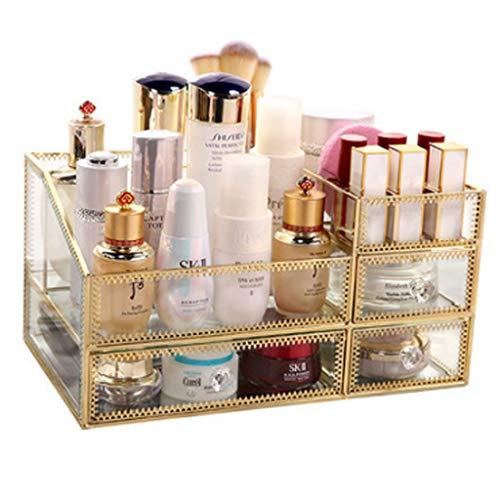 Contenitori per cosmetici cosmetici per il vetro scaffale per il vetro specchio trasparente per cosmetici scatola per le bambine miglior regalo per la cura della pelle cassetti tavolo per rifinitura p