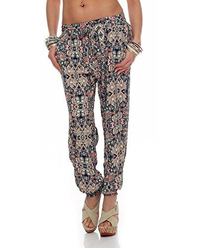 M2K - Damen Hose All Over Print Freizeit Strand Yoga Sommerhose Jegging (PM8055) blau One Size: (36-40)