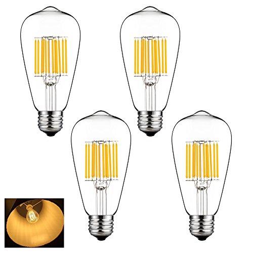 Lampadine LED, Edison Lampadina Incandescente E27, ST64 Bianca Calda 2700K, Lampadina Filamento, Lampadine Decorative, Vintage Per Lampade Illuminazione, 12 W Equivalenti a 120 W, Non Dimmerabile 4 Pezzi
