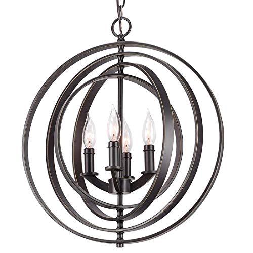 Shm6M Moderne Kronleuchter Kugel Orbits 4 * E14 Licht Kronleuchter Bronze Finish perfekt für Esszimmer Wohnzimmer Küche Büro Foyer Schlafzimmer Flur - Orbit 4 Licht