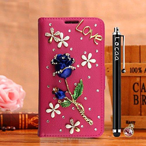 Locaa(TM) For Apple IPhone SE IPhoneSE 5SE 3D Bling Rose Case Fait Main Love Cuir Qualité Housse Chocs Retour Bumper Cases Cas Couverture Protection Cover Shell [Série Rose 1] Rouge - Rose Rose Rose - Rose Bleu