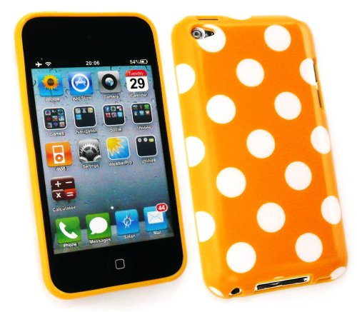 Protector Screen Ipod 4th (Emartbuy ® Apple Ipod Touch 4Th Generation Lcd Screen Protector Und Polka Dots Gel Skin Cover / Case Orange / Weiß)