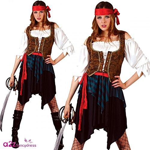 Karibik Pirat Kostüm Frau, X-Large 50-52. Pirate Hemd, Weste, Rock, Gürtel & Bandana