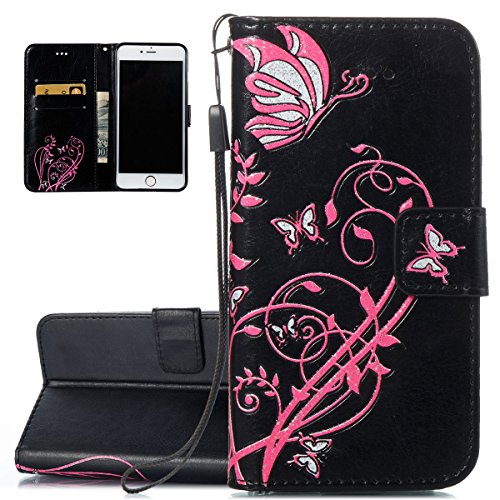 Hülle für iPhone 6S Plus, Tasche für iPhone 6 Plus, Case Cover für iPhone 6 Plus, ISAKEN Blume Schmetterling Muster Folio PU Leder Flip Cover Brieftasche Geldbörse Wallet Case Ledertasche Handyhülle T Pink Blume Schwarz
