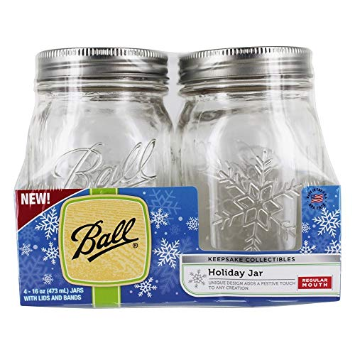 Unbekannt Ball(R) Regular Mouth Keepsake Canning Jars 4/Pkg-Pint Snowflake, 16oz Ball Canning Jar