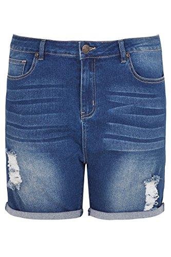 Yours Clothing Women's Plus Size Indigo Denim Ripped Shorts, Plus Size 16 to 36