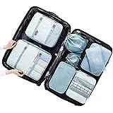 Belsmi Reise Kleidertaschen Set 8-teilig Reisetasche in Koffer Reisegepäck Organizer Kompression Taschen Kofferorganizer Mit Schuhbeutel (Grau Blau)