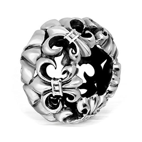 sistakno Sterling Silber 9253D Fleur de Lis Scout vertreten Scout Versprechen Pflicht, Gott und Land Pflicht, zu selbst Pflicht zu anderen Bead Anhänger für Halskette und Armband - Damen-fleur De Lis