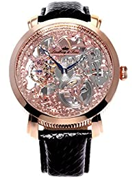 Lindberg & Sons SK14H065 - Reloj analogico de pulsera resistente al agua 5 ATM para hombre, cuerda manual y con correa de cuero negro, diseño esqueleto