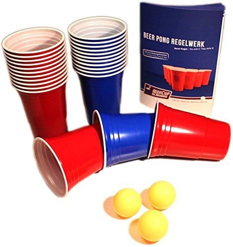 Red & Blue BeerCups Party Pack - Rote & Blaue Becher für Party & Beer Pong inkl. Bälle und Regelwerk (50 Rote & 50 Blaue Becher) - Bier-cup