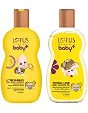 Lotus Herbals Baby+ Little Bubbles Body Wash and Shampoo, 200ml and Eternal Love Baby Massage Oil, 200ml