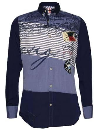 Desigual - T-Shirt à manches longues - Coupe droite - Col chemise classique - Manches longues - Homme Bleu Bleu -  Bleu - XXX-Large