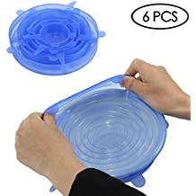 Wolecok Silicone Stretch Lids Silicone Cover Silicone Seal Wrap for Containers, Mugs, Mason Jars and Bowls (Light Blue)