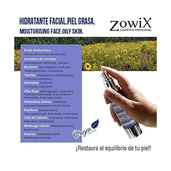 ZOWIX Crema antiarrugas piel grasa mujer y hombre.Matificante al Acido Hialuronico AntibrillosSim Parabenos 50ml.