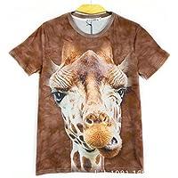 GZZ Camiseta de Manga Corta con Estampado Animal 3D de Animales en Verano/Jirafa de Gran tamaño Base con Manga Corta 3D de Hombre/Slim Fit Ajustada,Color,M
