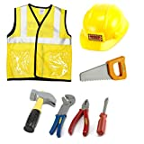 Worker Role Play, LESHP Builder Costume Construction Dress-Up Set for 90-130cm Kids Childrens for Christmas Halloween Parties