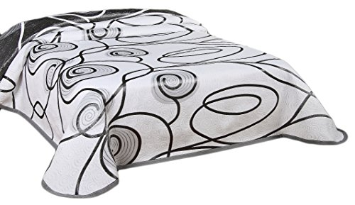 Couvre-lit réversible (XXL multifonctions-) 220 x 240 cm 240 x 260 cm blanco y gris