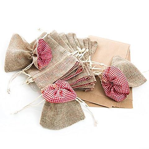 12 Stück hell-braune Stoff-Beutel Stoff-Säckchen (10 x 13 cm, innen rot weiß kariert) + kleine Papier-Tüten zum Basteln für Adventskalenderund Verpacken von Weihnachts-Geschenken