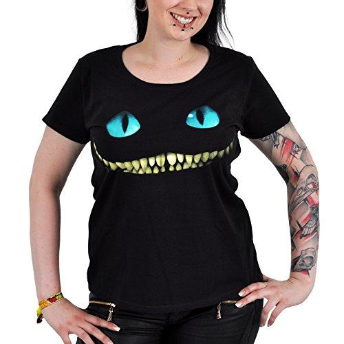 Alice in Wonderland - T-Shirt per ragazze con motivo dello Stregatto - Tratta dal film di Tim Burton - Girocollo sagomata - Nero - M