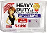 Neusu Mixed Size Multi Pack Heavy Duty Vacuum Storage Bags For Clothes & Bedding - Strong 110 Micron Quality - Compression Space Saving Bags - 5 Pack - Jumbo, XL, Large, 2 x Medium