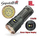 Supwildfire Zoombaren 50000LM 15 x LEDs XM-L T6 LED Power Mode Digital Display Jagd Taschenlampe Optional 4 x 3.7V 18650 Akku Mittlerer Schalter 3 ModiWasser (60 x 60 x 150mm (Mit Batterie), Gold)