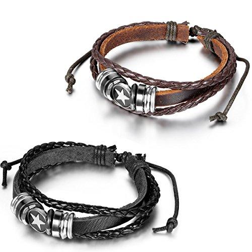 Flongo Bracelet Alliage Leather Cuir Cordon Corde Lien Poignet Perle Rétro Etoile Tressé Multicouche Réglable Bijoux Cadeau Noir Brun pour Femme Homme Noir Brun;2pcs