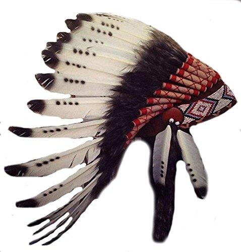 KARMABCN X06 Drei Farben Schwarz und Weiß indischen Federschmuck/Ureinwohnerart Warbonnet