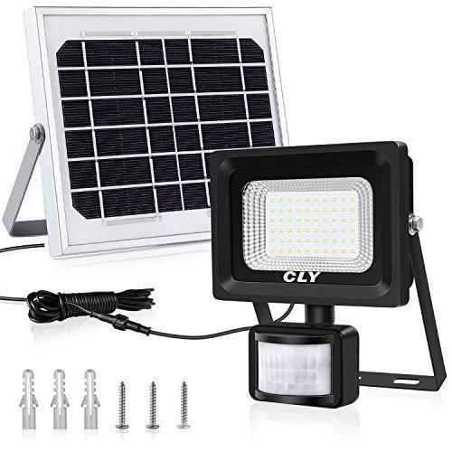 CLY Faretto Solare con Sensore di Movimento 60 LED, Luce Solare da Esterno, Faro Pannello Solari Impermeabile(IP66), Lampada Solare da Esterno con Sensore, 6000K Bianco per Giardino