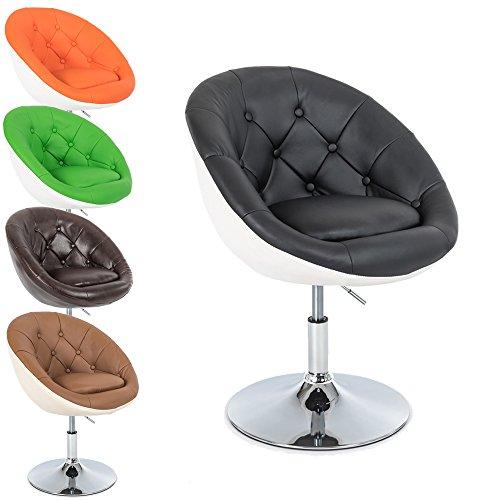 Fauteuil lounge / Fauteuil cocktail pivotant Gottfried - Tabouret de bar - Diverses Couleurs au choix - Hauteur réglable - retro Chesterfield design - en chrome et cuir synthétique (Noir - Blanc)