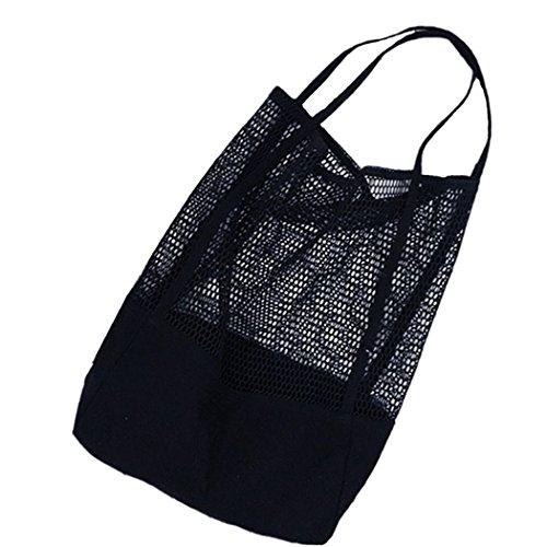 Amoyie Einkaufsnetz Netze Tasche Kartoffelsack aus Bio-Baumwollschnur Wiederverwendbar Organizer Einkaufstasche Handtasche Obsthorde Shopper Bag, Schwarz