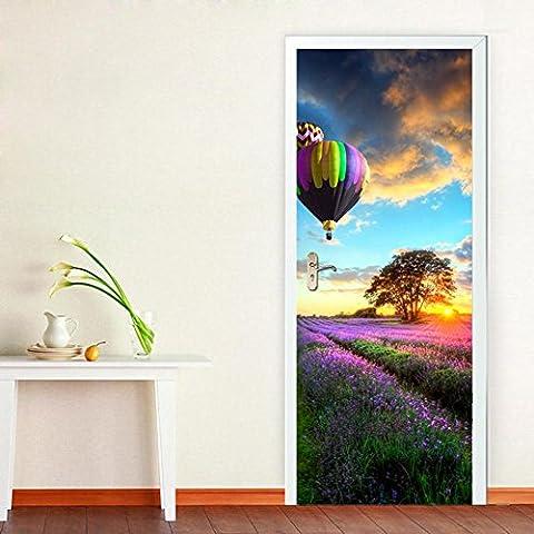 Lavender Manor Door Stickers 3D Home Decor Waterproof Auto-adhésif DIY amovible 200 * 77cm