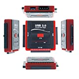 WANLONGXIN WLX-888U3IS-DE USB 3.0 zu SATA und IDE Festplatte Konverter Adapter Kabel Set mit Power Adapter für 2.5/3.5 Zoll SATA IDE Festplatte