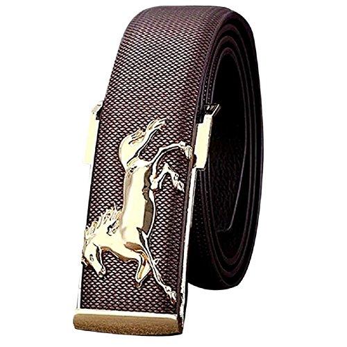 Cintura Uomo,WINWINTOM Pelle Oro Cavallo Di Svago Della Cinghia Degli Uomini Di Affari (caffè)