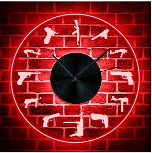 smyzll Vielfalt Gun Familie LED beleuchtet Wandkunst Bunte Wanduhr Shooters Gebet leuchtende Wanduhr Militär Armee Ruhestand Geschenk Durchmesser: 30cm -