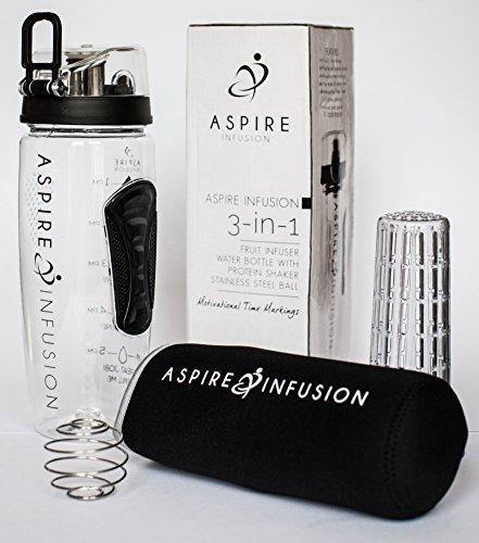 Aspire Infusion 3-in-1Wasserflasche mit Sieb für Obst, 1 l, mit motivierenden Zeit-Markierungen, Protein-Shaker-Spirale aus Edelstahl, Kondensationsschutzhülle (Kunststoff-obst-anzeige)