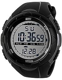 Sunjas - Reloj de pulsera deportivo digital para hombres, resistente al agua (5ATM), LCD, con cronómetro, cronógrafo, fecha y alarma, de goma, color titanio