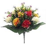 Bouquet grande di fiori artificiali, 41 cm, con mammole arancio-rosso/panna, per matrimoni/tomba/casa
