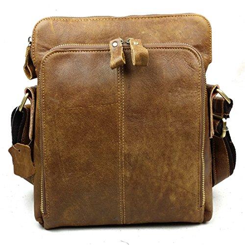 BAIGIO Herren Vintage Messenger Bags Freizeit tasche Ledertasche Echt Leder Schultertasche Aktentasche Lehrertasche Unitasche Umhängetasche Tasche Braun