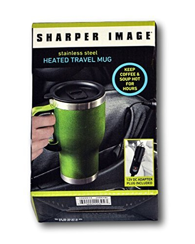 sharper-image-14-oz-stainless-steel-lined-heated-travel-coffee-mug-green-by-sharper-image