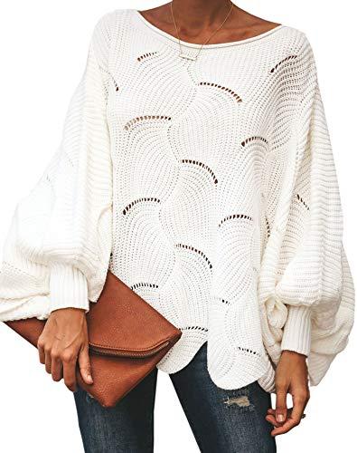 ECOWISH Damen Herbst Trägerlos Lose Oversize Langarm Top Sweatshirt Gestreift Pullover 023 Weiß 01 L