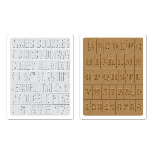 Sizzix Subway und Schablonen-Set von Tim Holtz Textur Fades Prägefolder, mehrfarbig, 2Stück (Prägefolder-set)