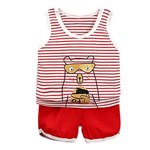 wuayi  Baby Jungs Kleidung Set, Gestreifte Cartoon Weste Tops T Shirt Kurze Hose Shorts Outfits Kostüm Jungen Kleidung 6 Monate - 3 Jahre