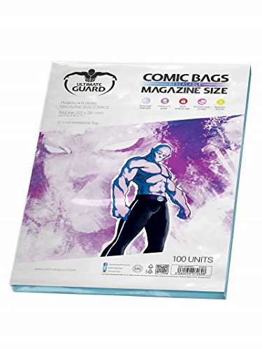 - Protects and stores comic books up to 22.1 x 27.9 cm (8 3/4 x 11 inches)- Extra high clearness- 2-inch (5 cm) resealable flap closure- 100% archival safe- Acid free, no PVC- Quantity: 100