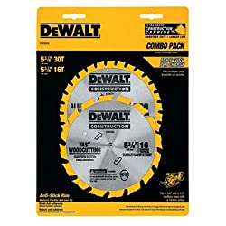 Dewalt Dw9058 5-38-inch Cordless Construction Saw Blade Combo Pack With 30 Tooth & 16 Tooth Saw Blades